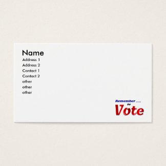 Recuerde votar tarjeta de negocios