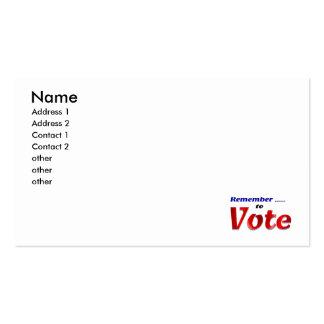 Recuerde votar tarjetas de visita