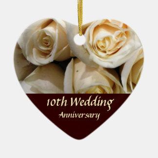 Recuerdo color de rosa del aniversario adorno de cerámica en forma de corazón