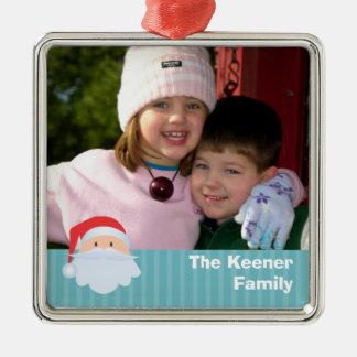 Recuerdo de encargo de la familia de las rayas adorno navideño cuadrado de metal