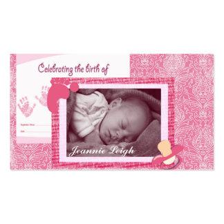 Recuerdo de la foto del nacimiento de la niña del tarjetas de negocios