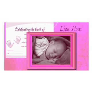 Recuerdo de la foto del nacimiento de la niña plantillas de tarjetas personales