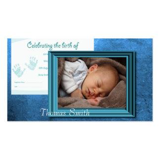 Recuerdo de la foto del nacimiento del bebé tarjetas de visita