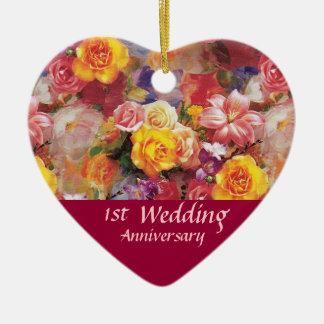 Recuerdo del aniversario de la rosaleda adorno de cerámica en forma de corazón