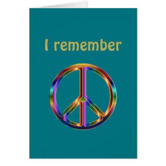 """""""Recuerdo"""" el texto con símbolo de paz Tarjeta"""