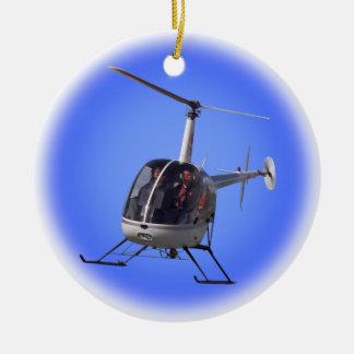 Recuerdo fresco del helicóptero del ornamento del adorno navideño redondo de cerámica