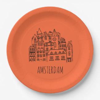 Recuerdo holandés de la ciudad de Amsterdam Plato De Papel