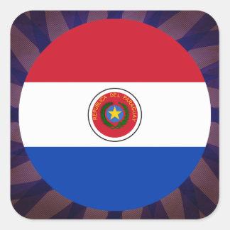 Recuerdo paraguayo de la bandera pegatina cuadrada