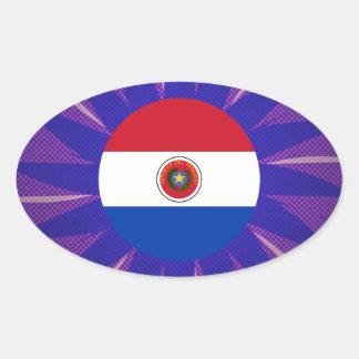Recuerdo paraguayo de la bandera pegatina ovalada