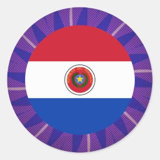 Recuerdo paraguayo de la bandera pegatina redonda