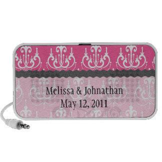 recuerdo rosado elegante del boda del damasco de l altavoces de viajar