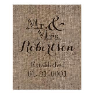 Recuerdo rústico personalizado del boda de la tarjetas publicitarias