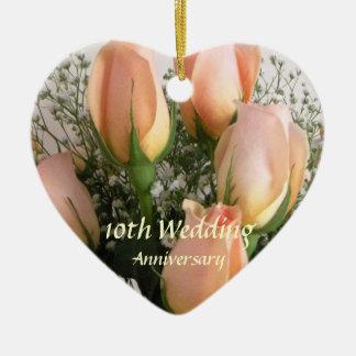 Recuerdo subió melocotón del aniversario de adorno de cerámica en forma de corazón