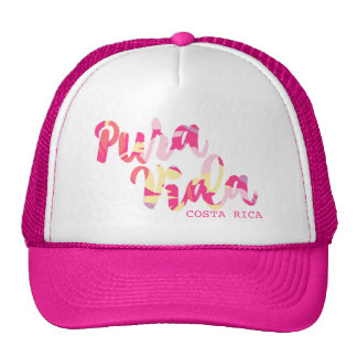 "Recuerdo tropical rosado de ""Pura Vida"" Costa Rica Gorras De Camionero"