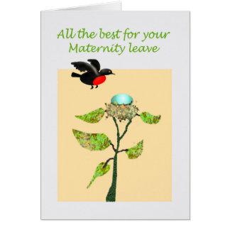Recuerdos del permiso por maternidad, pájaro, tarjeta de felicitación