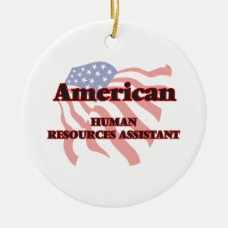 Recursos humanos americanos auxiliares adorno navideño redondo de cerámica
