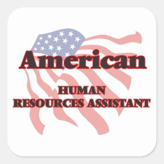 Recursos humanos americanos auxiliares pegatina cuadrada