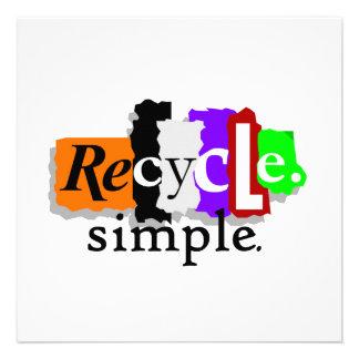 Recycle simple Camisetas y regalos Invitación Personalizada