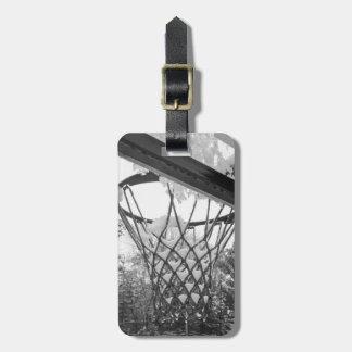 Red blanco y negro adaptable del baloncesto Nevado Etiqueta Para Maletas