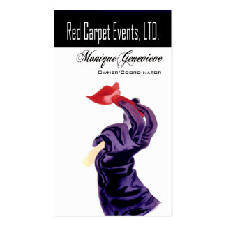 """""""Red Carpet Events I"""" - Event Planner, Coordinator Business Card Template"""