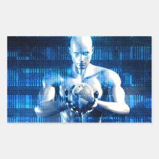 Red global de la tecnología del negocio con pegatina rectangular