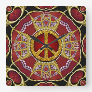 Red Gold Royale Peace Love Clock
