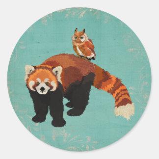 Red Panda & Owl Sticker Round Sticker