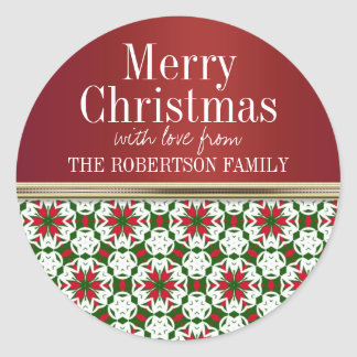 Red Star Ribbon Christmas Gift Tag Stickers