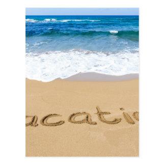 redacte las vacaciones escritas en la playa de la postal