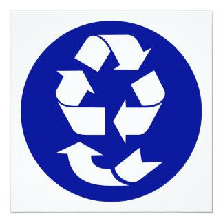 Reduzca la reutilización reciclan recuperan el invitación 13,3 cm x 13,3cm