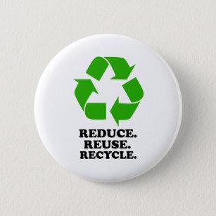 Chapa Redonda De 5 Cm Reduzca, reutilice, recicle - la vida verde