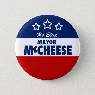 Reelija el botón caseoso de la campaña del alcalde
