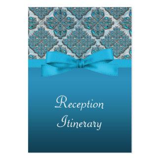 Reflejo grabado en relieve azul del boda del damas tarjetas personales