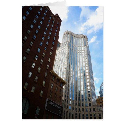 Reflexión del rascacielos del Midtown, New York Ci Tarjetas