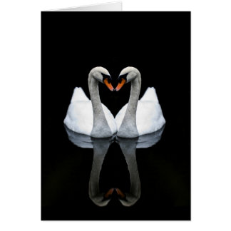 Reflexiones del amor, forma del corazón, cisnes tarjeta de felicitación