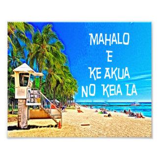 Refrán hawaiano Mahalo E KE Akua ninguna pared A Fotografías