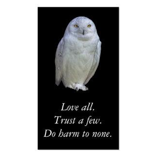 Refrán sabio del búho blanco. Shakespeare. Tarjetas De Visita