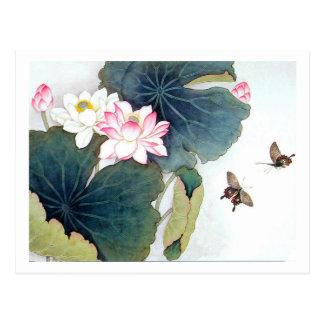 refresque el arte chino de la mariposa de la flor postal