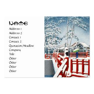 Refresque el arte del puente de la nieve del invie tarjetas de visita grandes