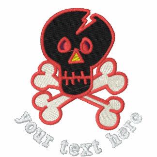 Refresque el cráneo bordado y la bandera pirata chaqueta de deporte bordada con cremallera