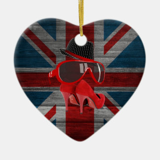 Refresque la bandera roja del Union Jack de los Adorno De Cerámica En Forma De Corazón