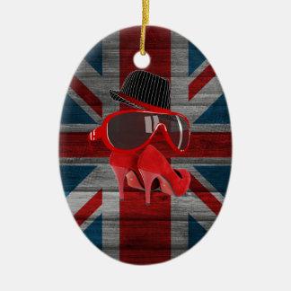 Refresque la bandera roja del Union Jack de los Adorno Ovalado De Cerámica