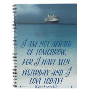 Refresque la nave en cita positiva del océano cuaderno