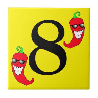 Refresque la teja caliente ocho del número 8 de la