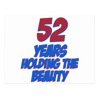 refresque los diseños del cumpleaños de 52 años postales