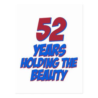 refresque los diseños del cumpleaños de 52 años postal