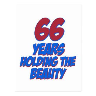 refresque los diseños del cumpleaños de 66 años postal