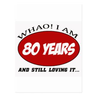 refresque los diseños del cumpleaños de 80 años postal