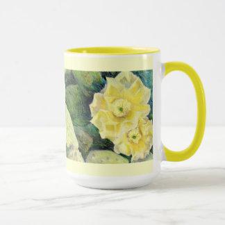 Regalo amarillo de la flor del flor del cactus taza