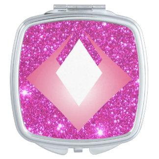 Regalo atractivo reluciente brillante rosado del espejos de maquillaje